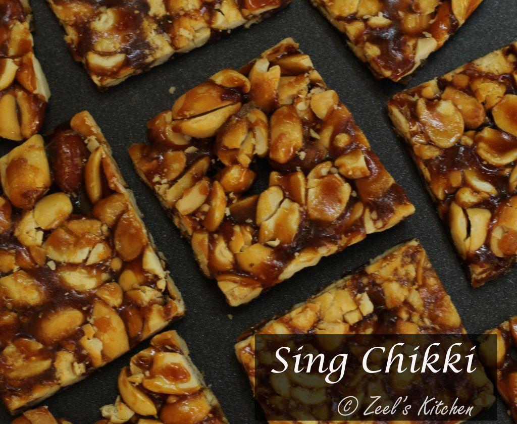 Sing Chikki | Peanut Chikki | Groundnut Brittle Recipe