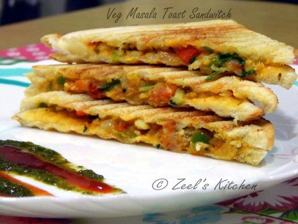 Veg Masala Toast Sandwich | Veg Masala Toast Sandwich Recipe