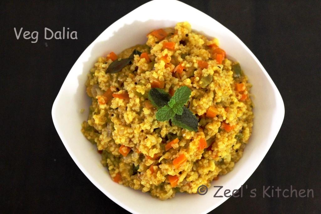 Vegetable Dalia | Masala Vegetable Dalia Recipe | Broken Wheat Khichdi Recipe