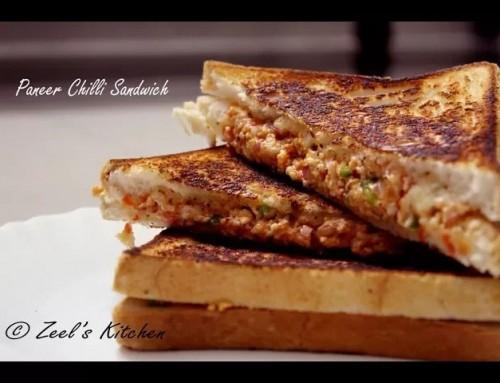 Paneer Chilli Sandwich | Veg Cottage Cheese Chilli Sandwich Recipe