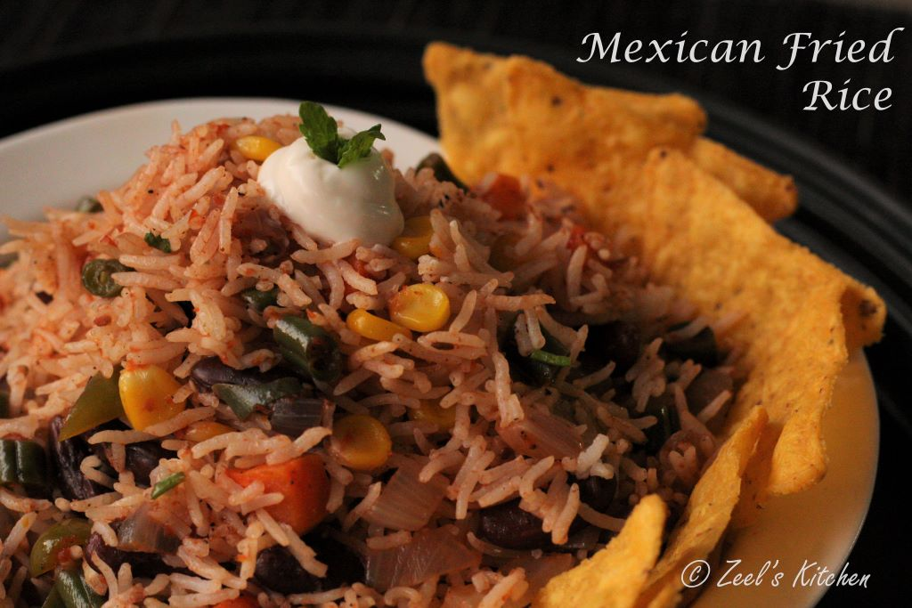 Vegetarian Mexican Fried Rice Recipe - Indian Restaurant style