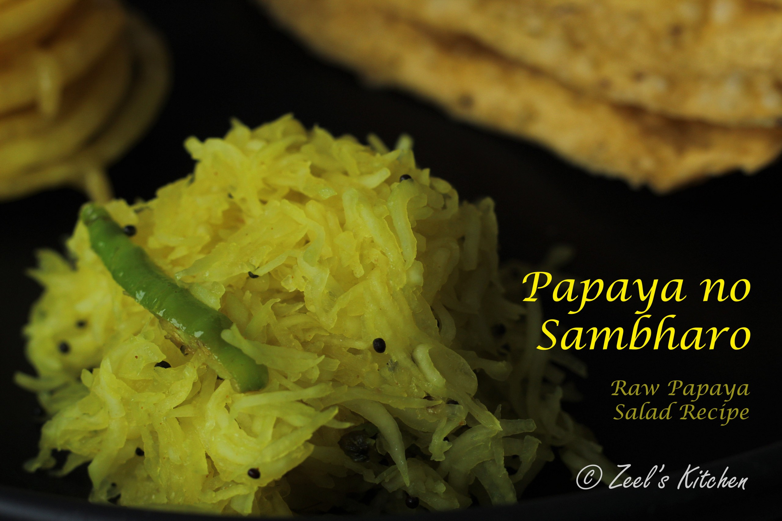 Papaya Sambharo | Papaya Lachha Salad Recipe | Gujarati Raw Papaya Salad Recipe for Fafda Jalebi