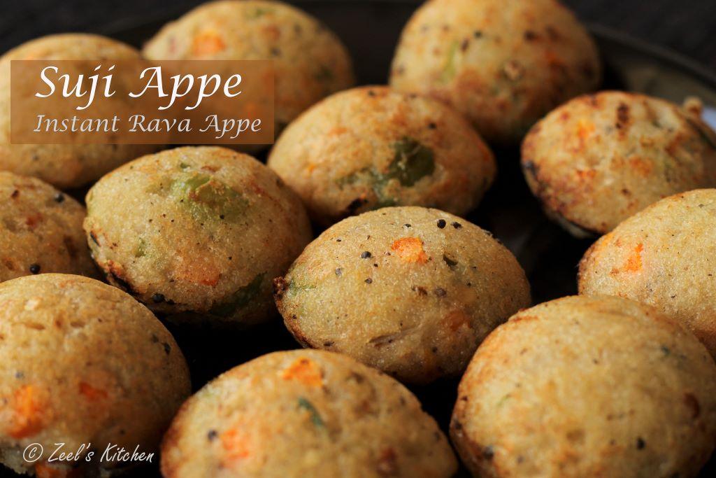 Suji Appe | Instant Rava Appe Recipe | Quick Vegetable Paniyaram | Semolina Pancake Puffs