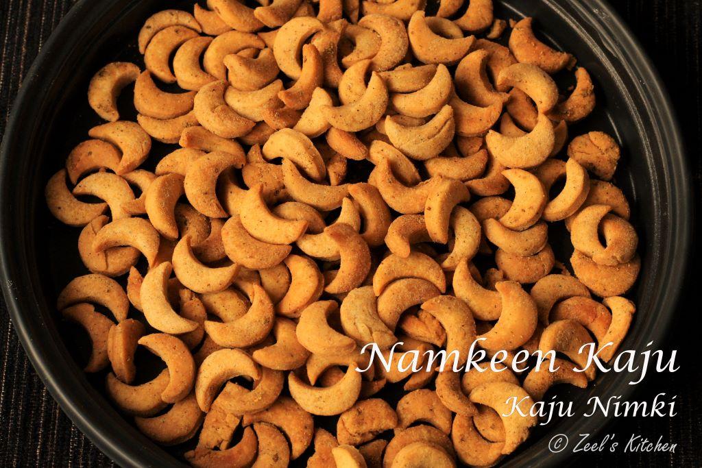 Namkeen Kaju Mathri | Kaju Nimki | Masala Fried Kaju | Kaju Namakpare | Cresent or Cashew Shaped Crispy Fried Snack