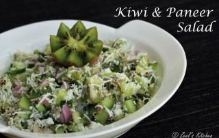 Kiwi and Paneer Salad | Kiwi and Indian Cottage Cheese Salad | Healthy Kiwi and Paneer Salad Recipe