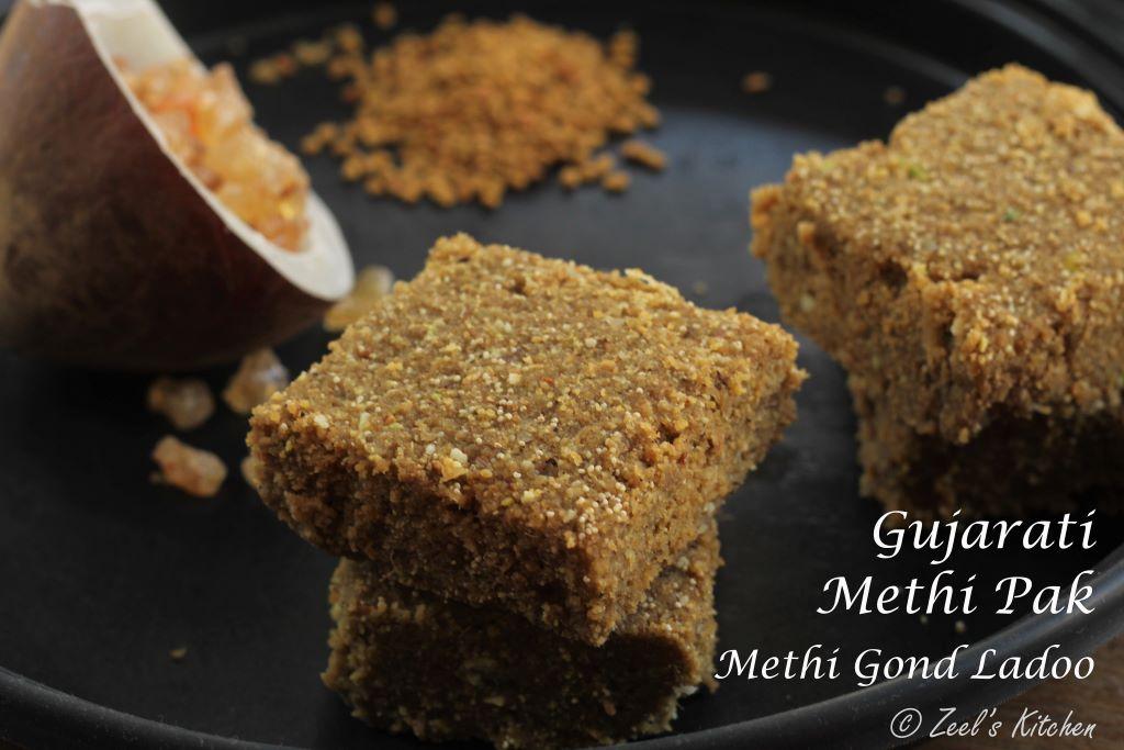 Gujarati Methi Pak | Methi Gond Ladoo | Methi Gond Sukhdi | Winter Special Spiced Fenugreek Fudge Recipe