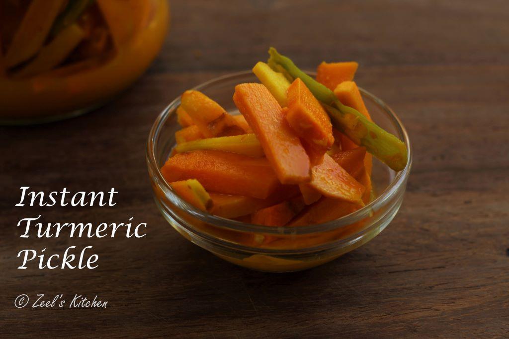 Instant Fresh Turmeric Pickle | Atheli Haldar | Haldi Adrak Mirch Ka Achar | Kachi Haldi Ka Achar Recipe