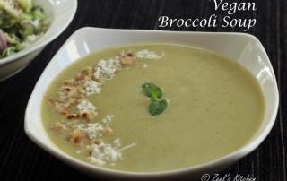 Vegan Broccoli Soup | Dairy-free Broccoli Soup | Creamy Broccoli Soup without Milk Recipe
