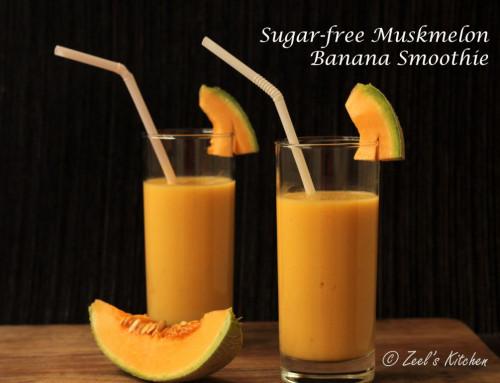 Sugar-free Muskmelon Banana Smoothie | Muskmelon Banana Lassi