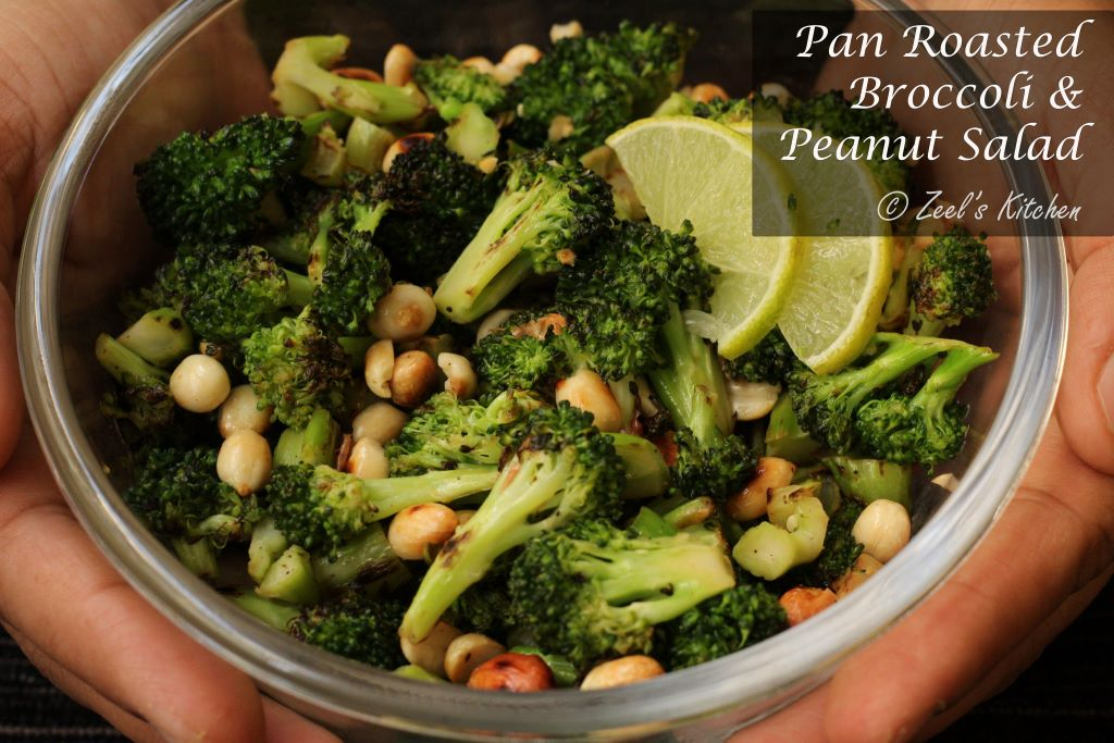 Pan Roasted Broccoli and Peanut Salad | Roasted Broccoli and Peanut Salad Recipe