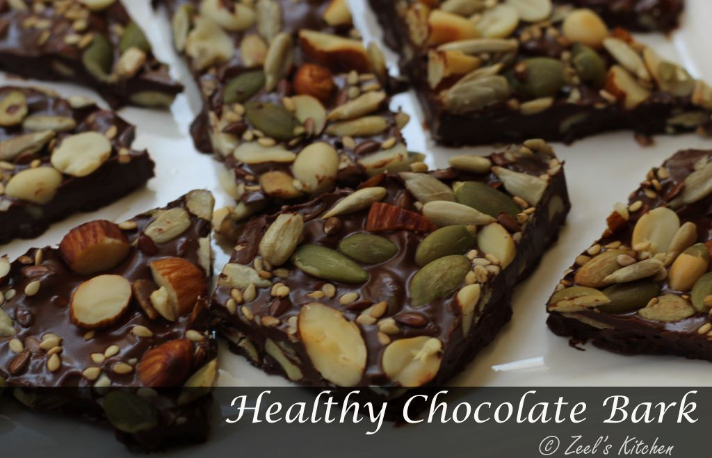 Healthy Chocolate Bark | Chocolate Bark with Roasted Nuts and Seeds