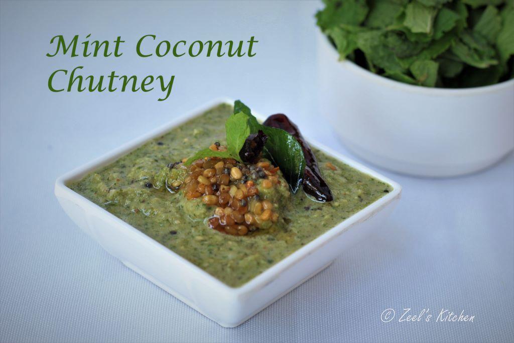 Mint Coconut Chutney | South Indian Style Mint Coconut Chutney Recipe