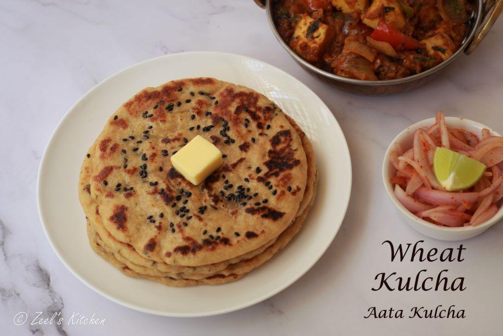 Wheat Kulcha on Tawa | Whole Wheat Flour Kulcha Recipe | Atta Kulcha on Tawa | No Maida No Oven Kulcha Recipe