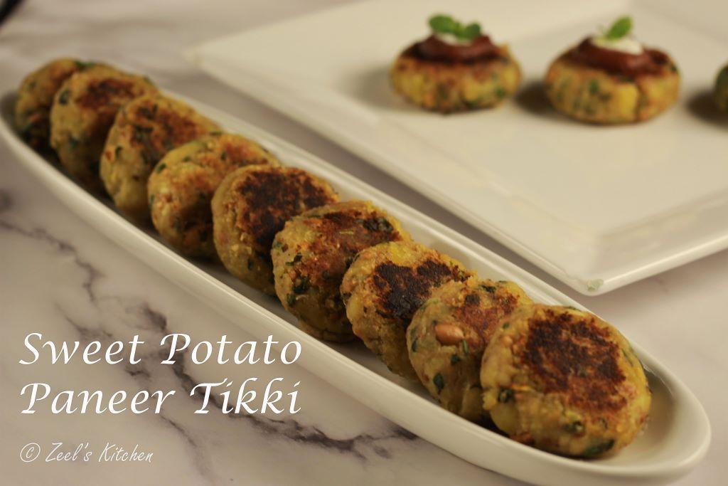 Sweet Potato and Paneer Tikki Recipe   Shakkargand and Paneer Tikki for Vrat
